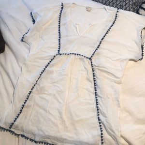 White and blue j.crew beach cover up